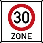 Verkehrsschild für den Beginn einer 30er Zone