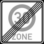 Verkehrsschild für das Ende einer 30er Zone
