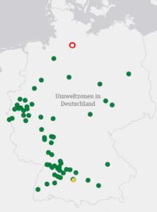 Karte mit Markierungen für alle Umweltzonen in Deutschland in der Farbe der zugehörigen Plakette