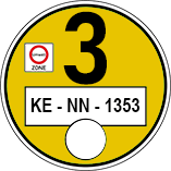 Muster einer gelben Umweltplakette