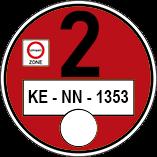 Muster einer roten Umweltplakette
