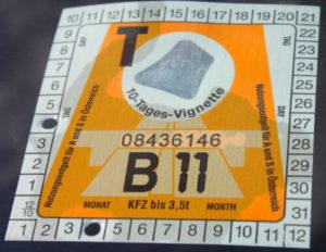 Österreichische Verkehrsregeln fordern eine solche Autobahnvignette