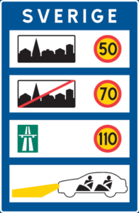 Grundlegende Verkehrsregeln in Schweden auf einem Schild